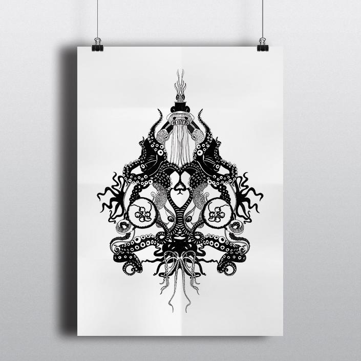 Octopus • 50x60cm, Rothring sur calque