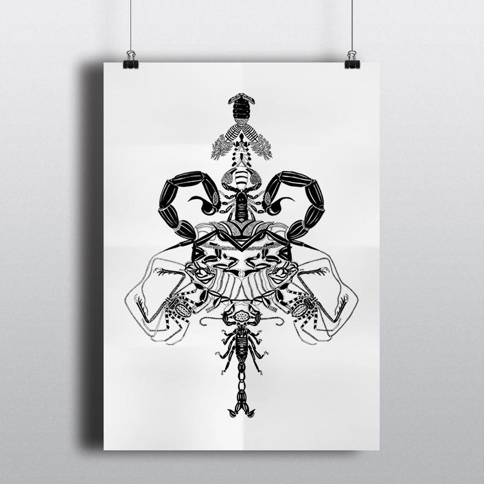 Scorpions • 50x60cm, Rothring sur calque